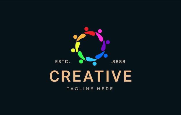 Social community logo design inspiration vector illustration of colorful teamwork partnership