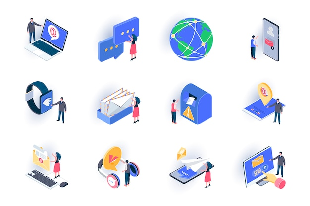 Social contacts isometric icons set. people sending email and chatting with digital devices flat illustration. online communication and messaging 3d isometry pictograms with people characters.