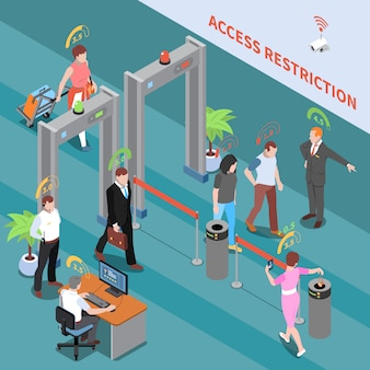 Social credit score system isometric illustration