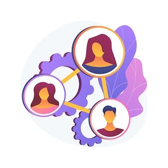 Illustrazione di vettore di concetto astratto di sviluppo sociale. i bambini imparano, competenza nelle abilità sociali, impatto positivo, comunicazione di successo, successo nella carriera, metafora astratta dell'istruzione.