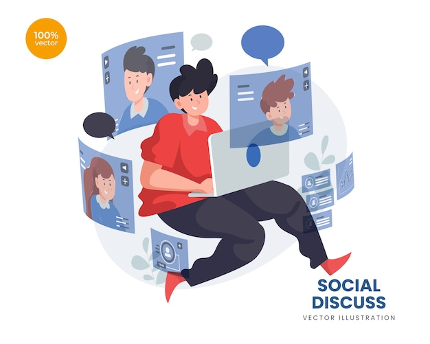 ノートパソコンとオンラインで通信するチームとして2人でソーシャルディスカッションの概念図