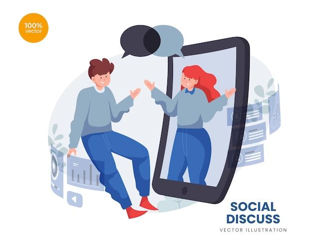 Иллюстрация концепции социального обсуждения с двумя людьми в команде, общающейся онлайн.