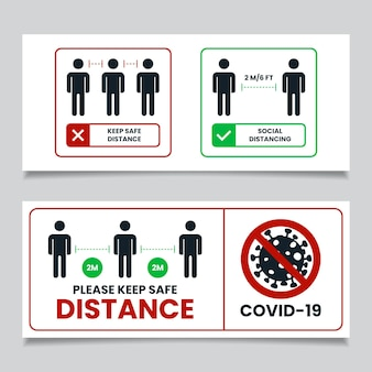 Social distance banner sign
