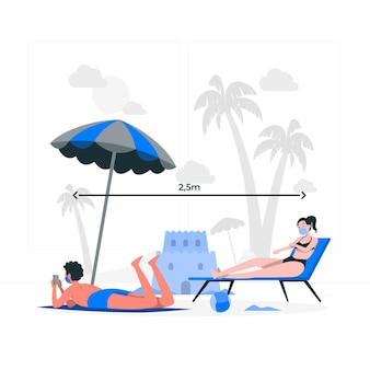 Distanza sociale all'illustrazione del concetto di spiaggia