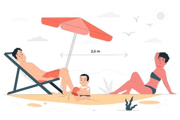 Social distance at the beach concept illustration