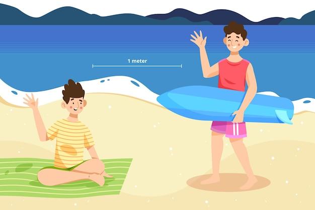 Distanza sociale sul concetto di spiaggia