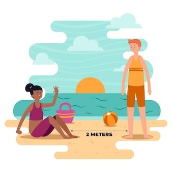 Distanza sociale sulla spiaggia
