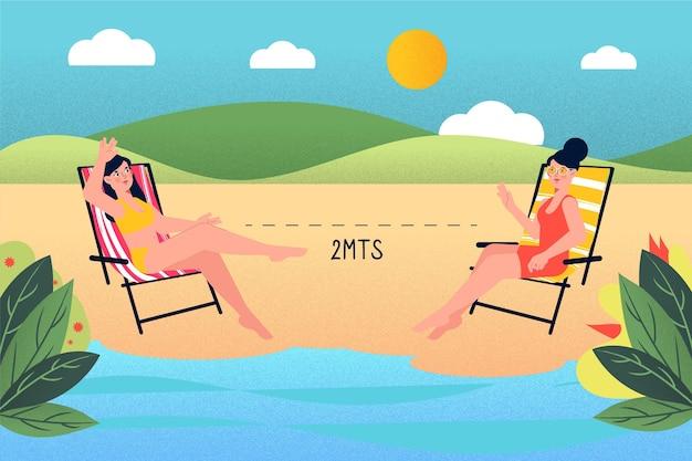 Social distance on the beach