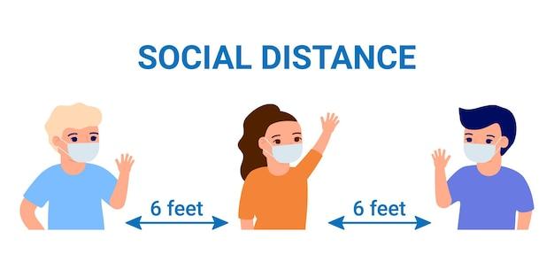 フェイスマスクの社会的距離の子供たちは、測定コロナウイルスを保護します。
