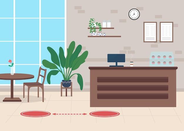 Social distance flat color illustration