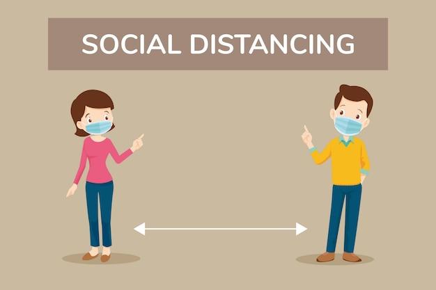 Covid-19ウイルスを防ぐための安全のための社会的距離
