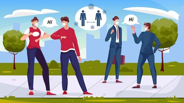 Composizione piatta di saluto a distanza sociale