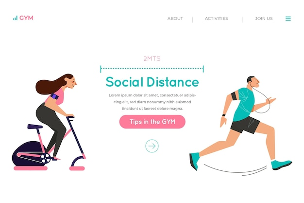 Social distance in the gym landing page