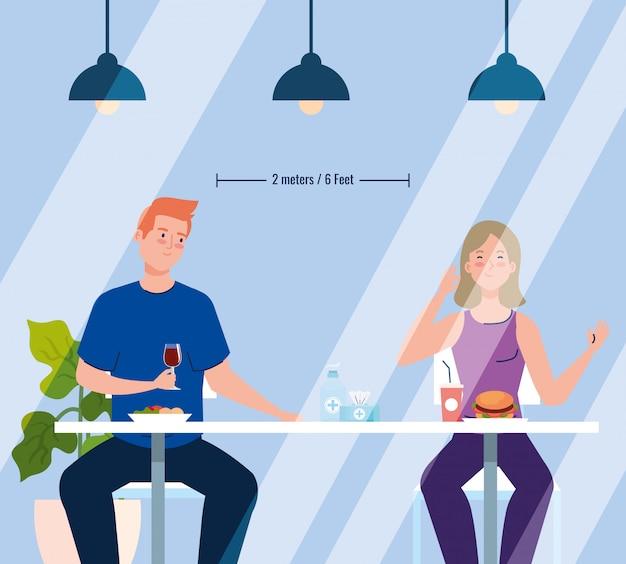 새로운 컨셉 레스토랑의 사회적 거리, 테이블 위 커플, 보호, 코로나 바이러스 코 비드 예방 19