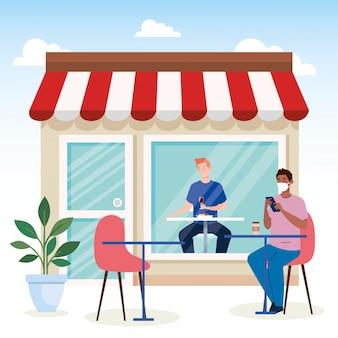 신개념 식당에서의 사회적 거리, 테이블 위의 남성, 보호, 코로나 바이러스 코 비드 예방 19
