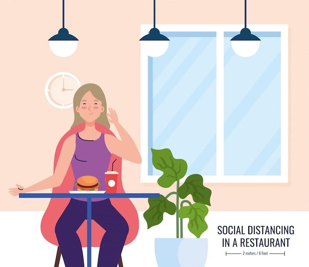 새로운 컨셉 레스토랑의 사회적 거리, 테이블 위의 여성, 보호, 코로나 바이러스 코 비드 예방 19