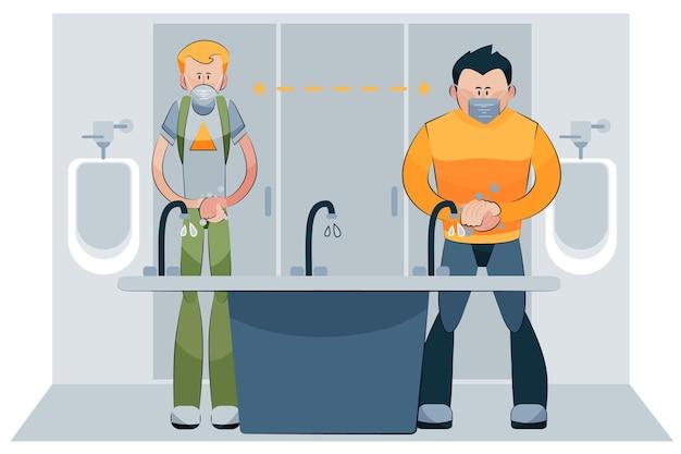 Социальная дистанция в общественных туалетах