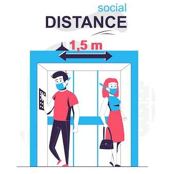 Social distance isolated cartoon concept man and woman distancing in elevator coronavirus