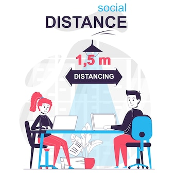 Social distance isolated cartoon concept man and woman distancing in office coronavirus