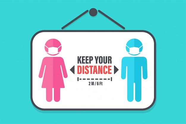 社会的距離。コロナウイルスの蔓延を防ぐために、周囲の人からの距離にラベルを付けます。