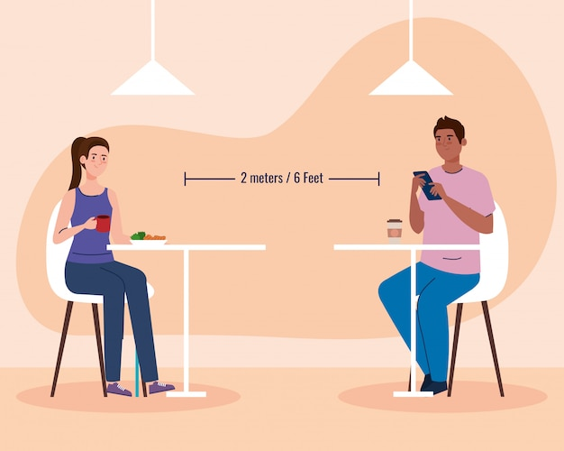 Social distance in new concept restaurant , couple eating on tables, protection, prevention of coronavirus covid 19