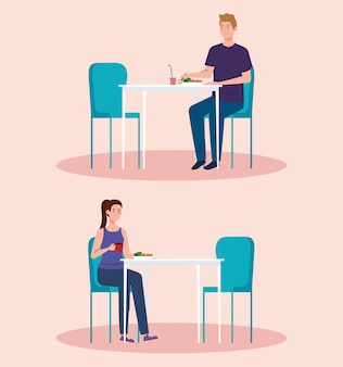 Social distance in new concept restaurant , couple on tables, protection, prevention of coronavirus covid 19