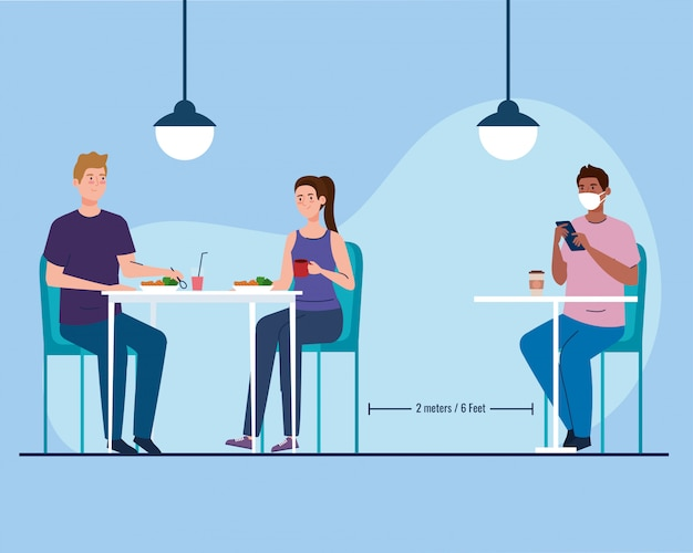 Social distance in new concept restaurant, people on tables, protection, prevention of coronavirus covid 19
