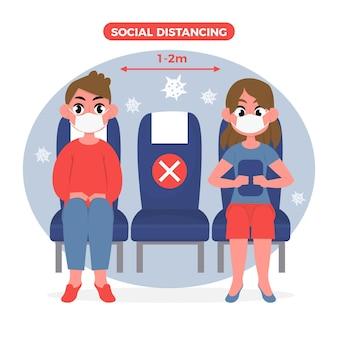 Social distance between passengers