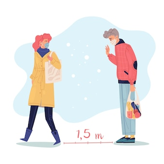 Social distance people illustration. a man and a woman keeping the distance.