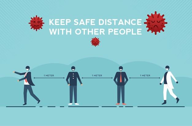 社会的距離の人々は、コロナウイルスまたはcovid19インフルエンザの発生を保護するために公共の場で距離を保ちます