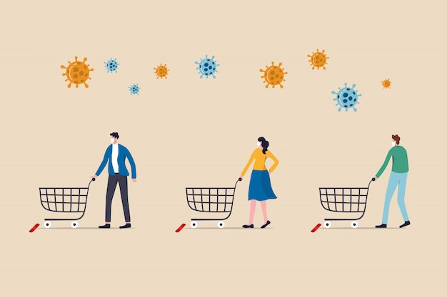 Social distance people keep distance away in public to protect covid-19 coronavirus flu outbreak, people with shopping cart trolley wait in line or queue keep away distance with covid-19 pathogen.