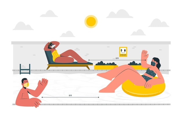 Social distance at the poolconcept illustration