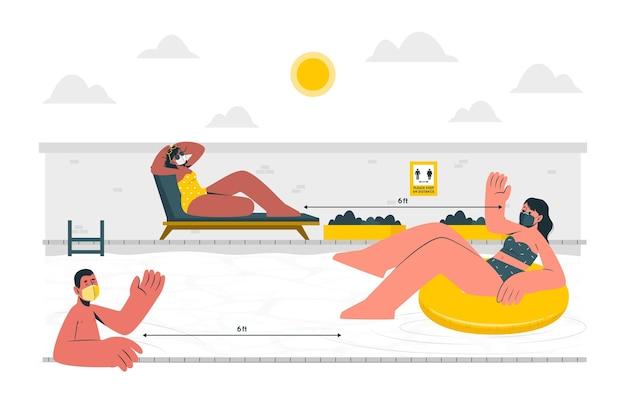 Distanza sociale all'illustrazione del concetto di piscina
