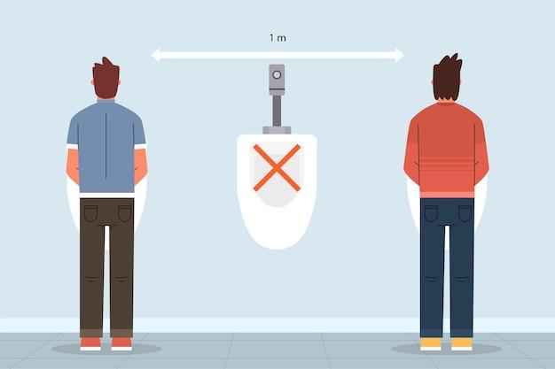 Distanza sociale nei bagni pubblici