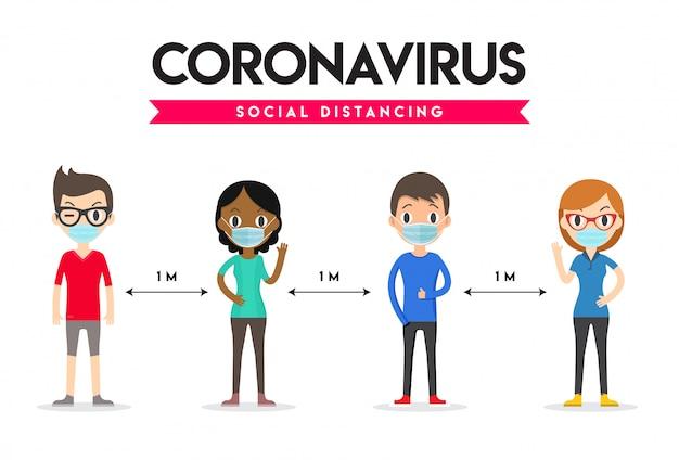 Социальная дистанция, безопасное пространство на расстоянии 1 метра. социальное дистанцирование. коронавирус.