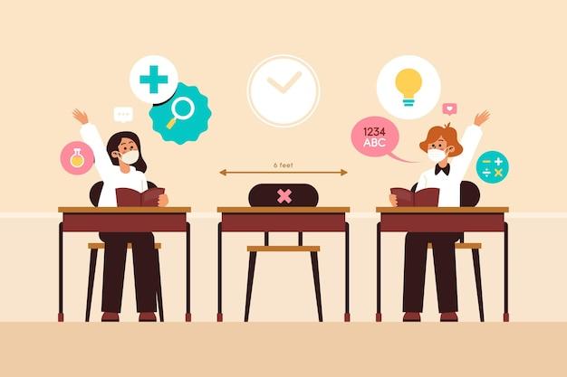 Distanza sociale all'illustrazione della scuola