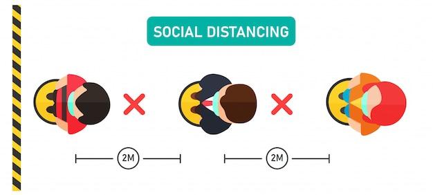 社会的距離。上面図にあるベクターの人々は、間隔を空けて製品を購入するために並んで立っています。