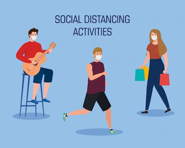 Social distancing activities, people doing activities, keep distance in public society to protect from covid 19