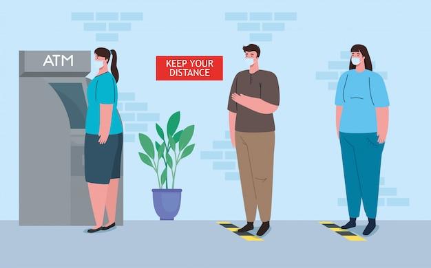 Социальное дистанцирование и предотвращение коронавируса, сохраняйте безопасное расстояние от других при использовании банкоматов