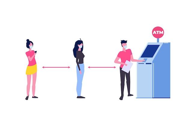 사회적 거리두기 및 코로나바이러스 covid-19 예방. 사람들이 atm 기계 근처에서 줄을 서서 기다리고 있습니다. 평면 스타일의 벡터 일러스트 레이 션