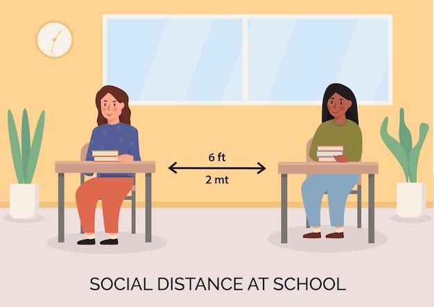 학교 개념 삽화에서 사회적 거리두기. 책상에 책과 함께 교실에 앉아있는 아이들. 학생들은 강의실 내에서 안전 거리를 유지합니다. 판데미아 이후의 뉴노멀을 위한 배너