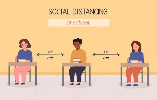 학교 개념 삽화에서 사회적 거리두기. 책상 위에 책을 들고 교실에 앉아 있는 아이들. 학생들은 강의실 내에서 안전 거리를 유지합니다. 판데미아 이후의 뉴노멀을 위한 배너