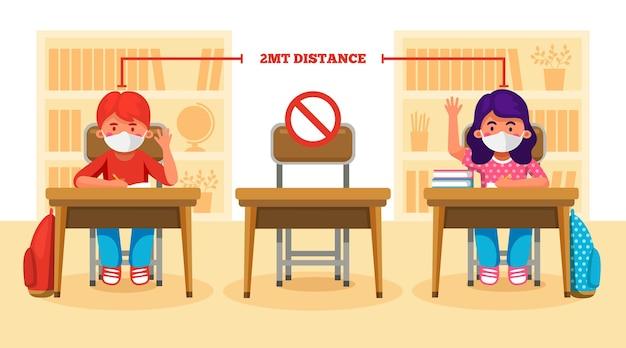 学校の新しいシーンでの社会的距離