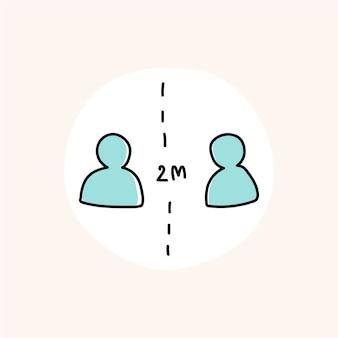 Distanziamento sociale per evitare il vettore dell'icona della pandemia di coronavirus