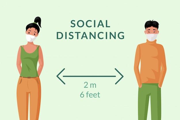 Социальное дистанцирование баннер концепции. молодой человек и женщина в лицевых масках держат иллюстрацию шаржа расстояния.