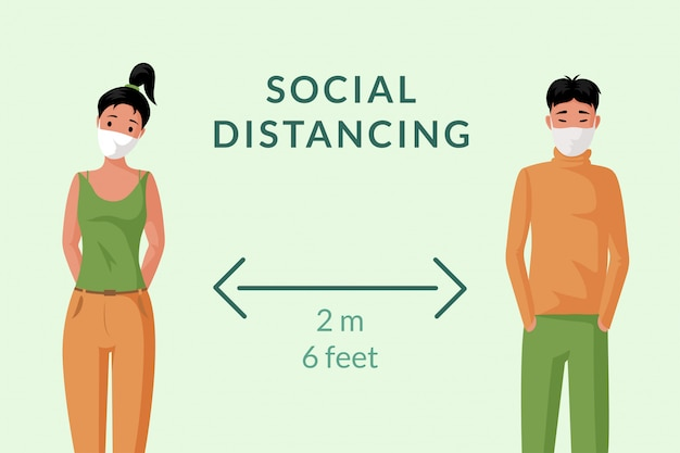 Social distancing banner concept. young man and woman in face masks keep distance   cartoon illustration.
