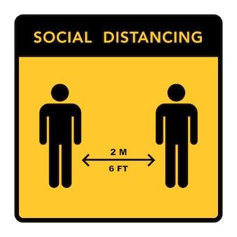 Социальный дистанцирующий баннер. держите расстояние 2 метра. эпидемия короновируса защитная.