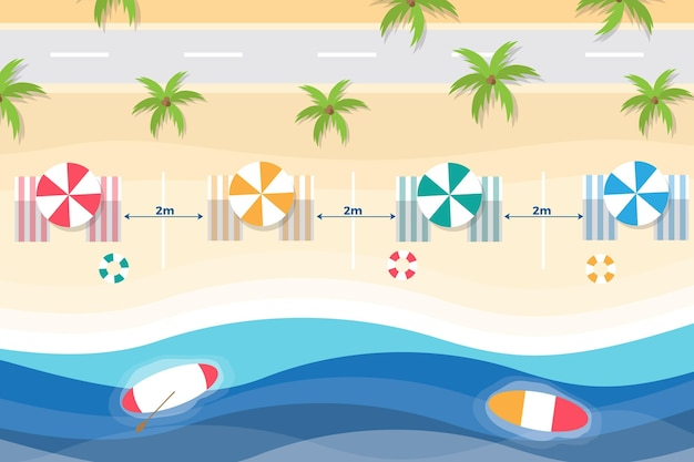Social distancing beach chairs and umbrellas