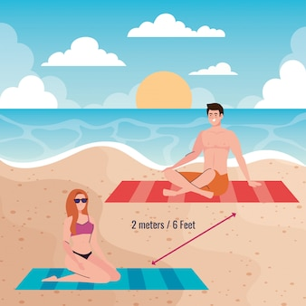 Social distancing on the beach, couple keep distance two meters and six feet, new normal summer beach concept after coronavirus or covid 19