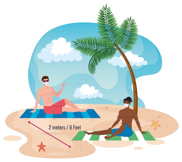 Social distancing on the beach, men keep distance two meters or six feet, new normal summer beach concept after coronavirus or covid 19